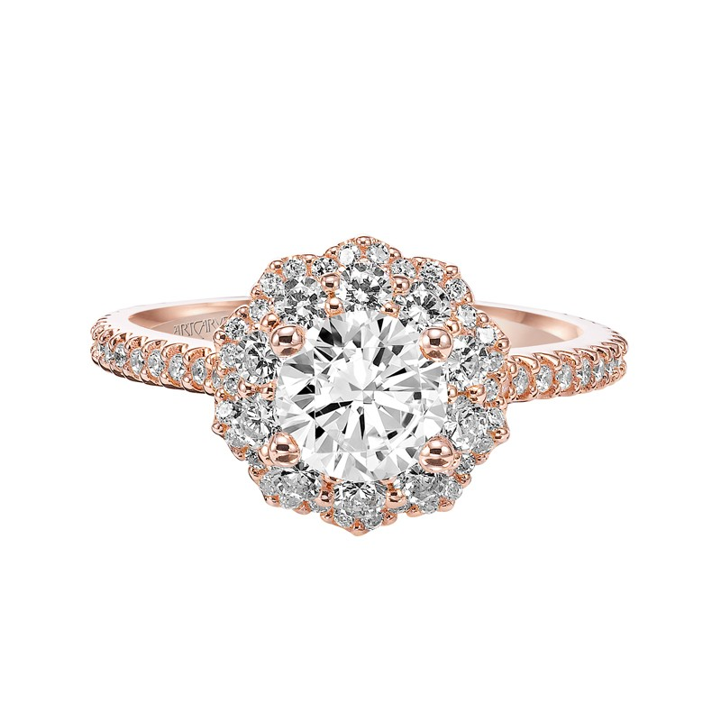 Priscilla Double Halo Diamond Engagement Ring In Rose Gold 31
