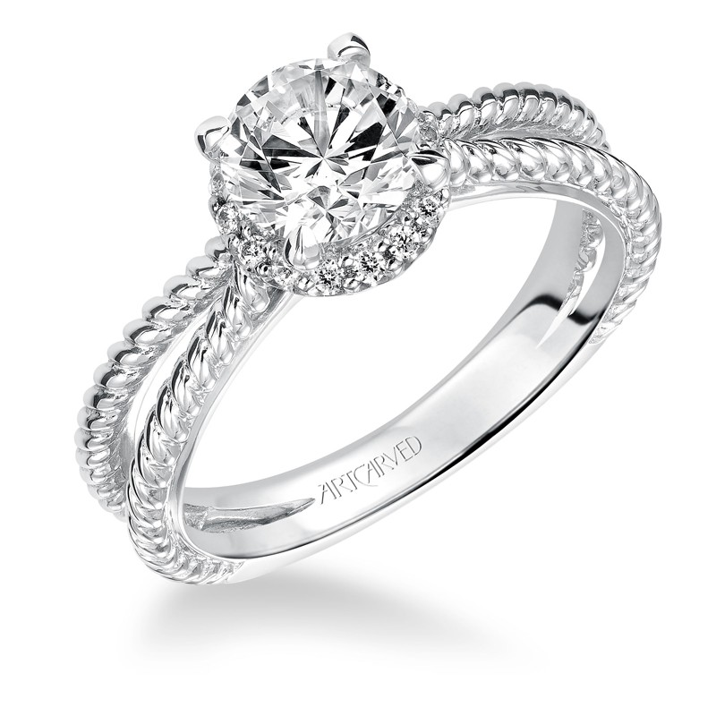 Serina' Halo Prong Set Diamond Engagement Ring  - 31-V546ERW-E.00