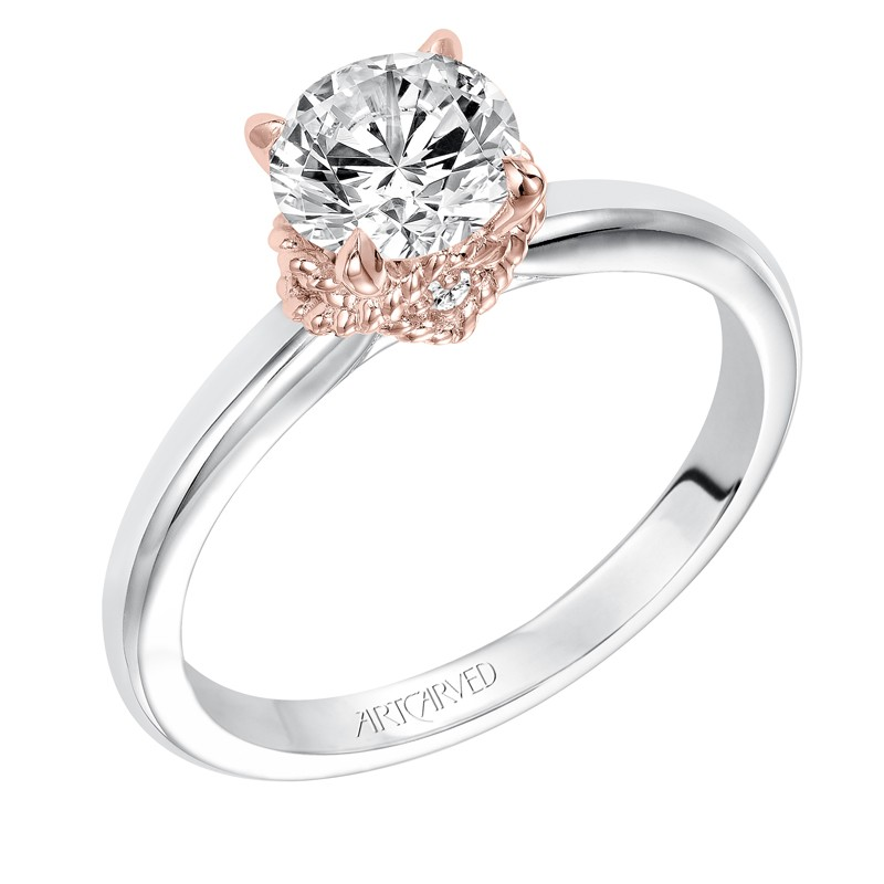 Clarice' Modern Classic Two-Tone Solitaire Diamond Engagement Ring in Rose Gold - 31-V584ERR-E.00