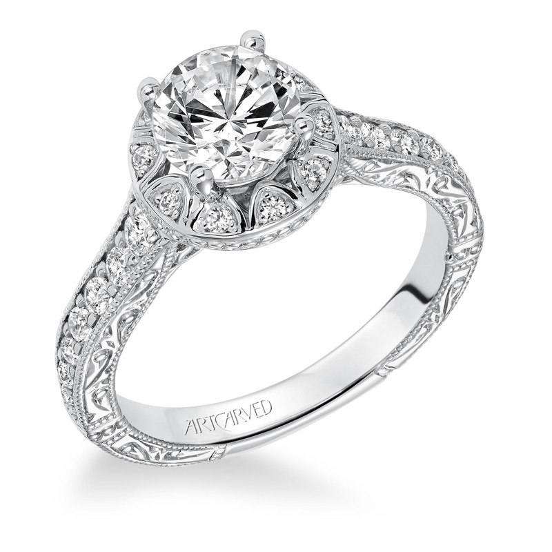 Winslet' Halo Hand Engraved Diamond Engagement Ring  - 31-V637ERW-E.00