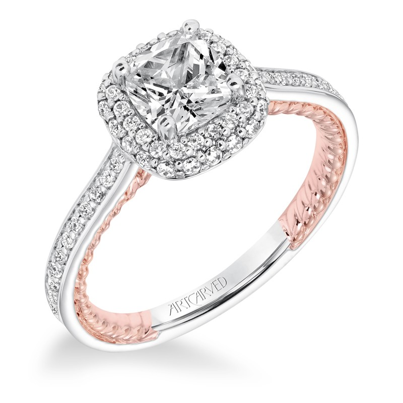 """Vita"" Diamond Halo with Two Tone Rope Detail Engagement Ring"