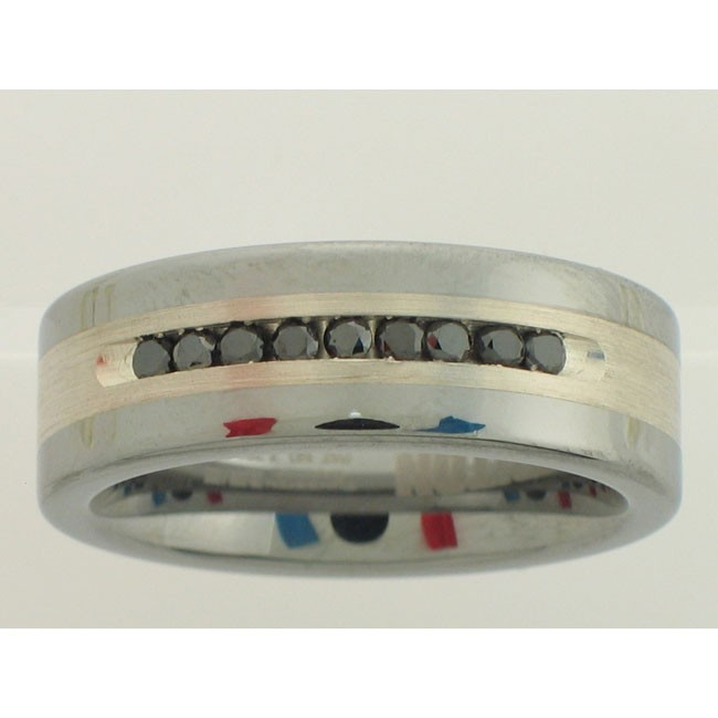 TUNGSTEN&SILVER GENTS RING with 9 Diamond(s) 0.25ctw