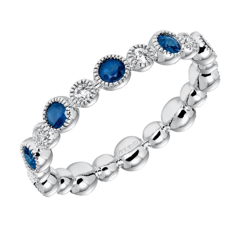 Contemporary Bezel Set Diamond and Sapphire Eternity Band - 33-V14S4W65