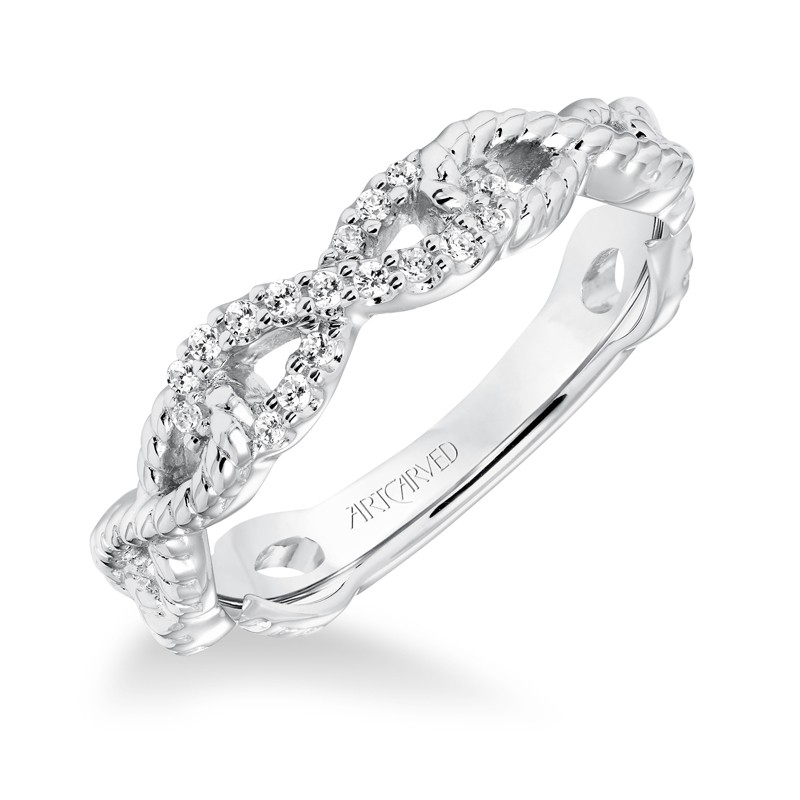 ArtCarved Diamond Rope Infinity Anniversary Band in 14K White Gold  - 33-V9156W