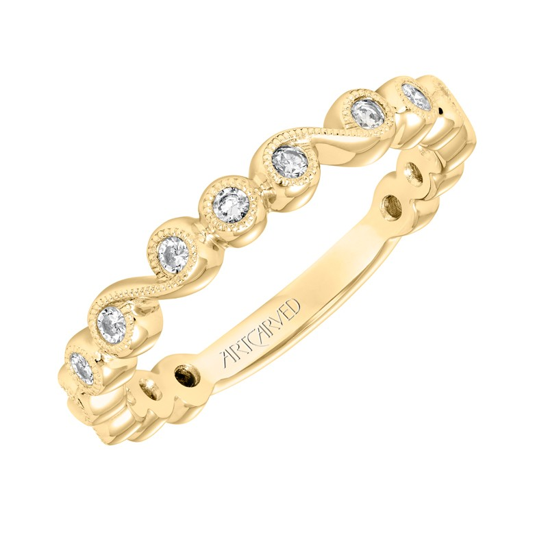 ArtCarved Stackable Band with Bezel set Diamonds and Milgrain in 14K Yellow Gold - 33-V9161Y