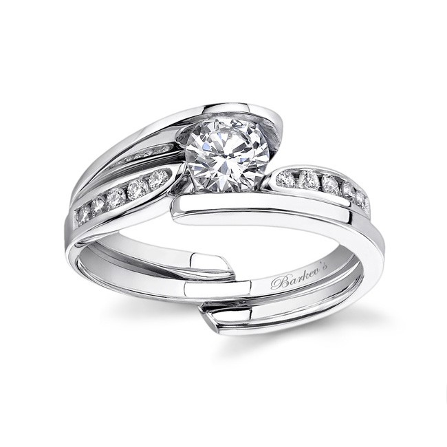 White gold diamond engagement ring set - 7382SW
