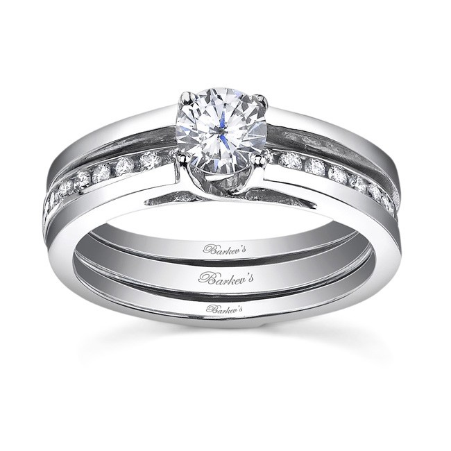 White gold diamond engagement ring set - 7491SW