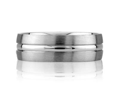 Satin Finish Center Beveled Men's Ring