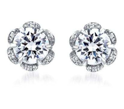 DIAMOND FLORAL HALO EARRINGS