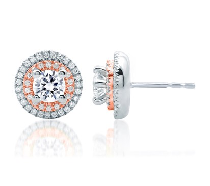 DOUBLE HALO ROSE GOLD DIAMOND EARRINGS