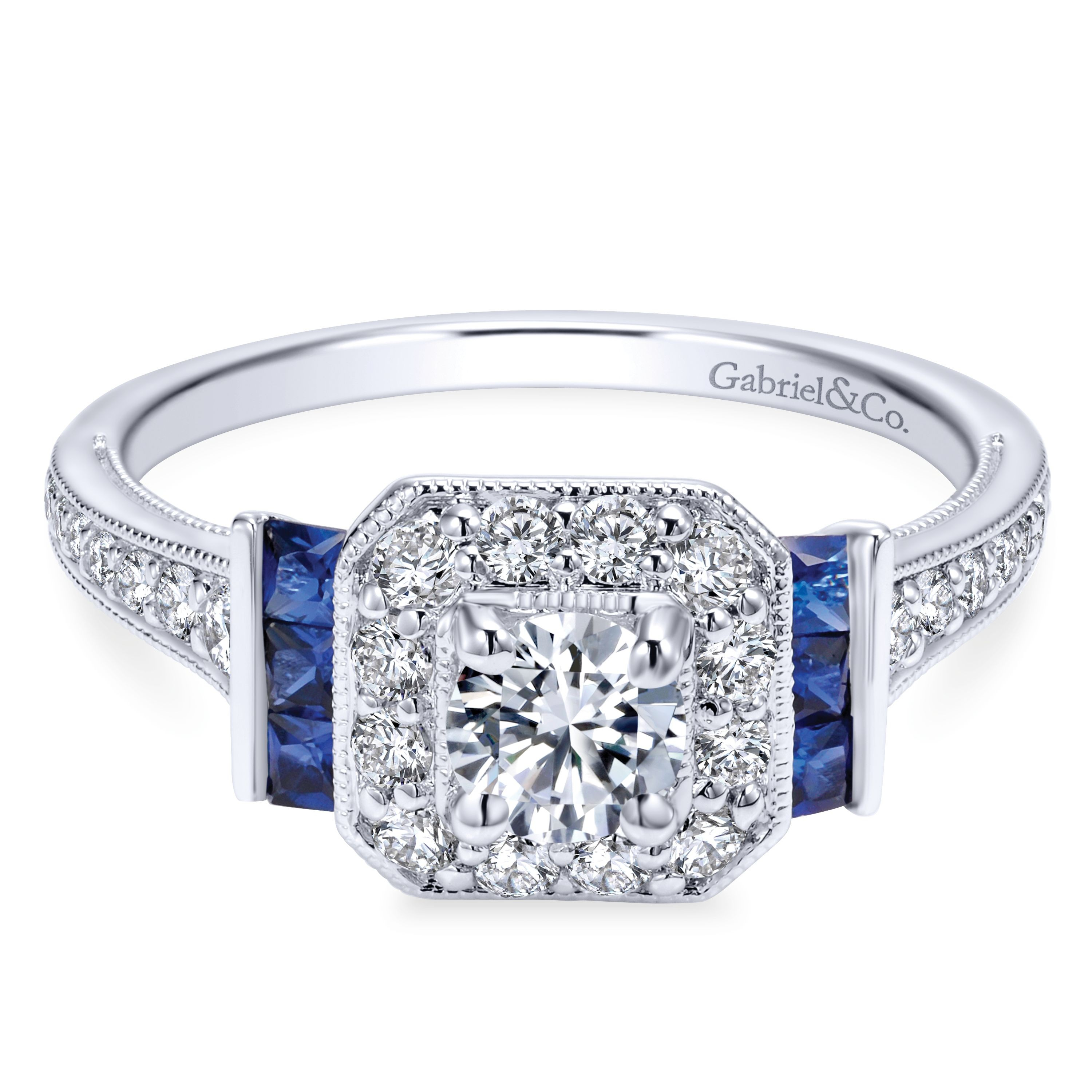 14k White Gold Diamond and Two-Side Sapphire Contemporary Engagement Ring