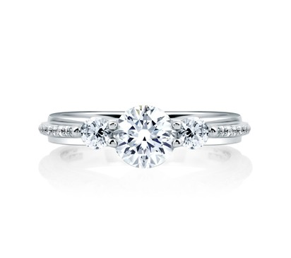 THREE STONE ROUND WITH MICRO PAVÉ SIDE ENGAGEMENT RING