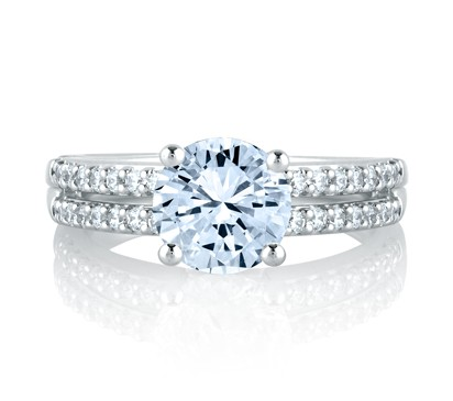 CLASSIC TWO ROW SHARED PRONG ENGAGEMENT RING