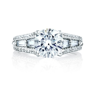 ROUND ENGAGEMENT RING WITH BAGUETTES AT SIDES