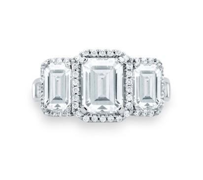 Classic Three Stone Emerald Cut Halo Engagement Ring
