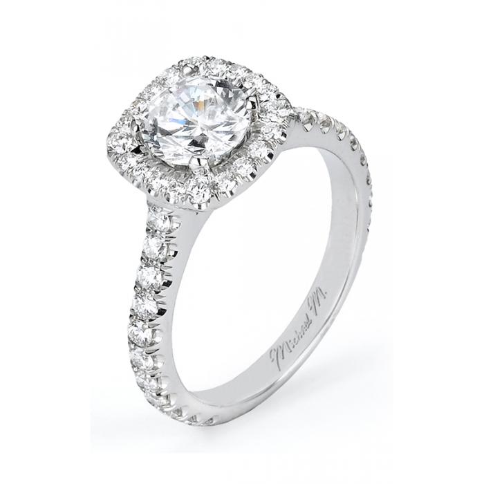 Michael M Cushion Pave Halo Diamond Engagement Ring