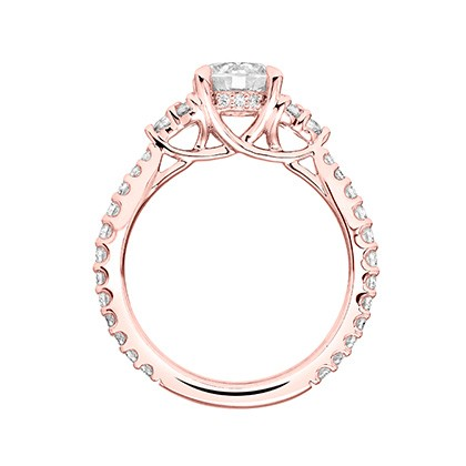5089bf7f2 'Clio' Classic Three Stone Diamond Engagement Ring in Rose Gold - 31 -V743ERRR