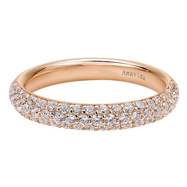 18k Rose Gold Straight Diamond Wedding Band
