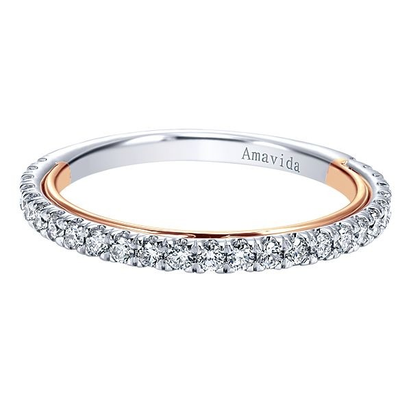 18k White/Rose Gold Straight Diamond Wedding Band