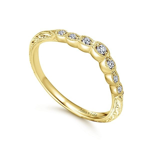 bands ring beaded diamond flat yellow gold wedding band womens shadow milgrain