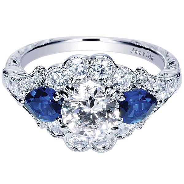 Vintage Platinum Round Halo Diamond A Quality Sapphire Engagement Ring