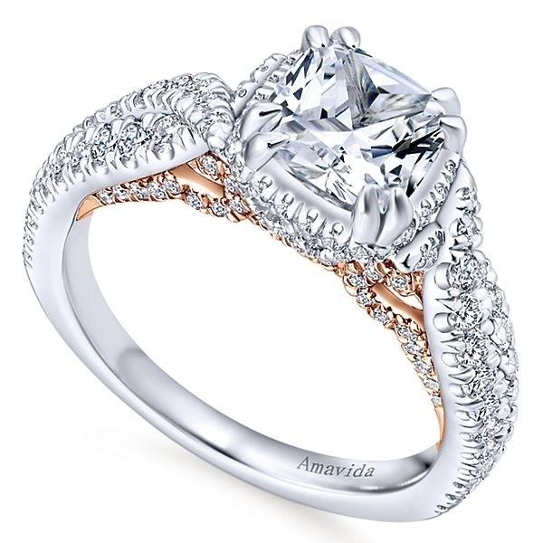 18k White Rose Gold Cushion Cut Halo Diamond Engagement Ring Halo