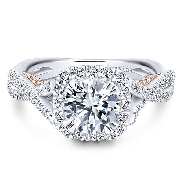 18k White/Rose Gold Round Halo Diamond Engagement Ring