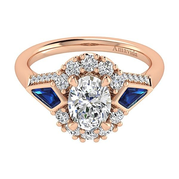 18k Rose Gold Oval Halo Diamond A Quality Sapphire Engagement Ring