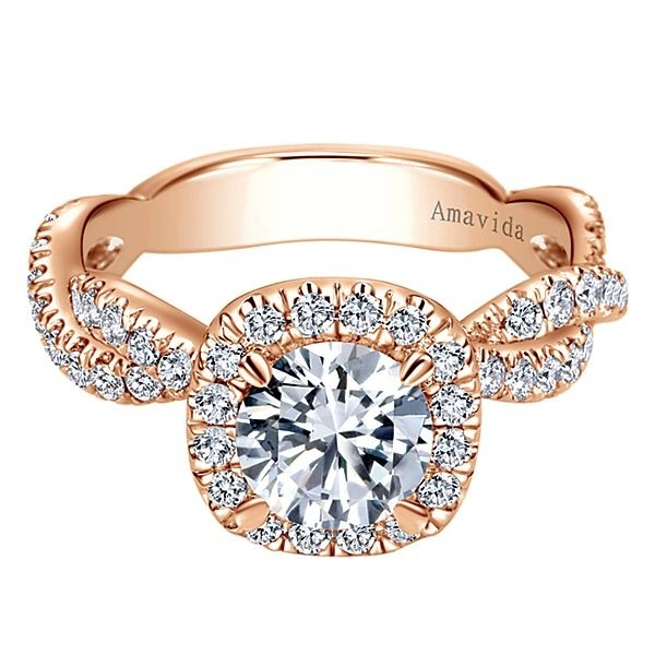 18k Rose Gold Amavida Round Halo Diamond Engagement Ring
