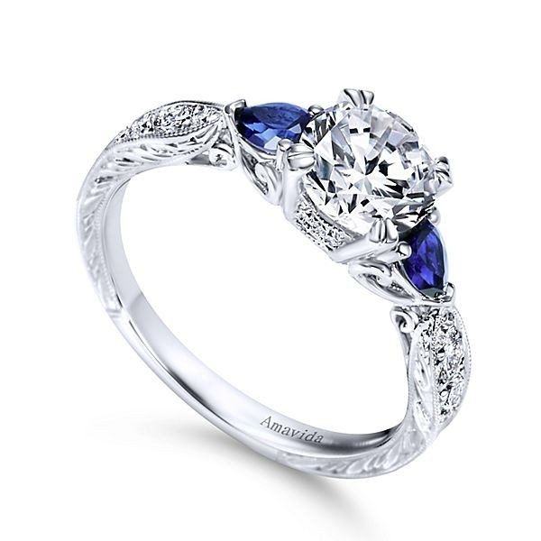 Enement Rings With Sapphires | Vintage Platinum Round 3 Stones Diamond A Quality Sapphire