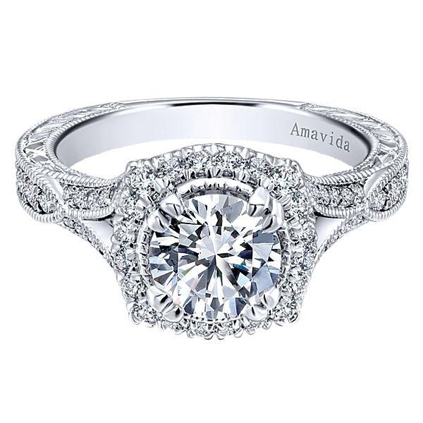 Vintage 18k White Gold Amavida Round Halo Diamond A Quality Sapphire Engagement Ring