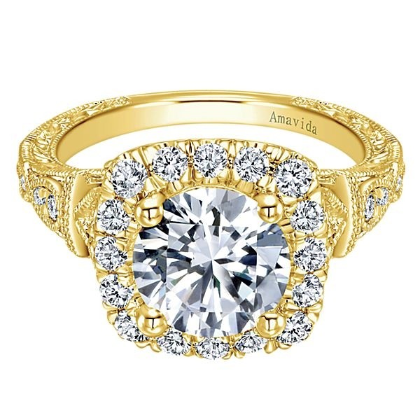 Vintage 18k Yellow Gold Amavida Round Halo Diamond Engagement Ring
