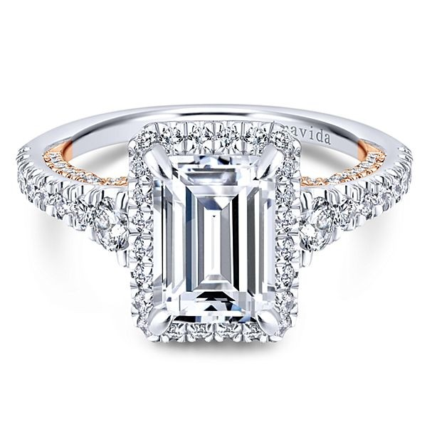 28937b6cfa90 18k White Rose Gold Emerald Cut Halo Diamond Engagement Ring - Split ...