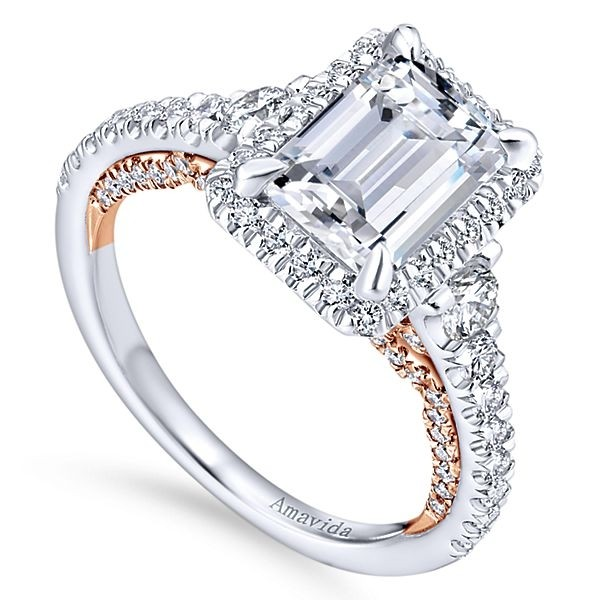 rings ring gold pave engagement emerald prong cut claw morganite il rose solitaire diamond
