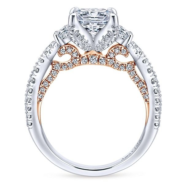 18k White Rose Gold Princess Cut 3 Stones Diamond Engagement Ring