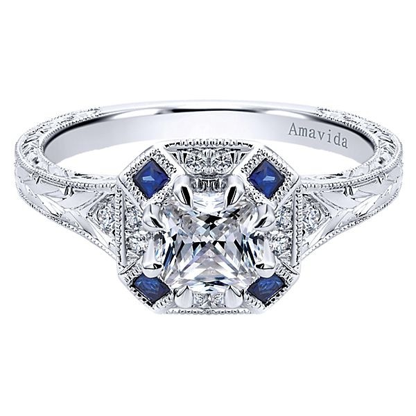 engagement diamond sapphire bands rings flat custom blue and ring