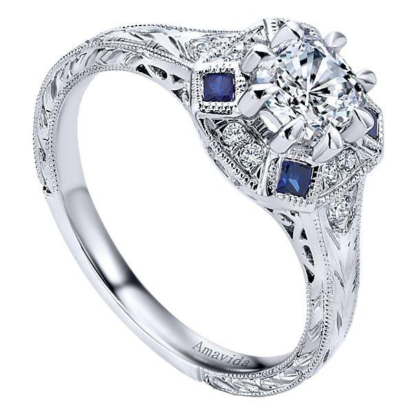 Vintage Platinum Cushion Cut Halo Diamond A Quality Sapphire