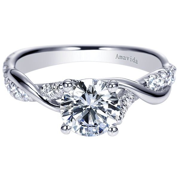 18k White Gold Round Twisted Diamond Engagement Ring