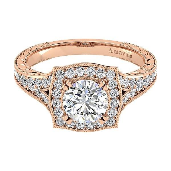 Vintage 18k Rose Gold Round Halo Diamond Engagement Ring