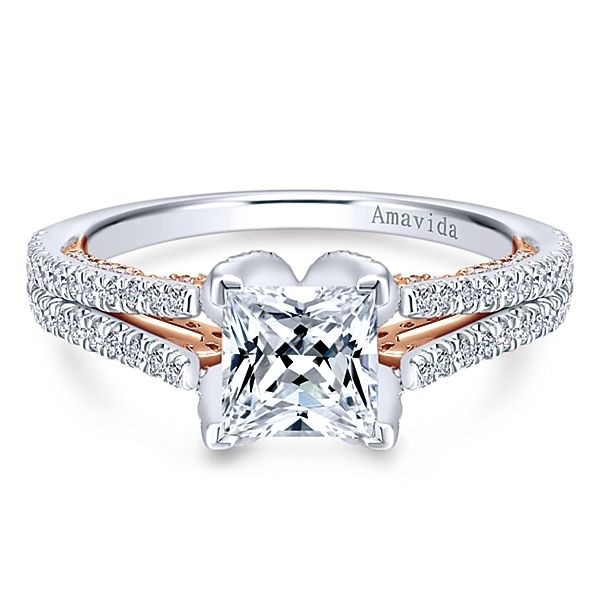 18k White/Rose Gold Princess Cut Split Shank Diamond Engagement Ring