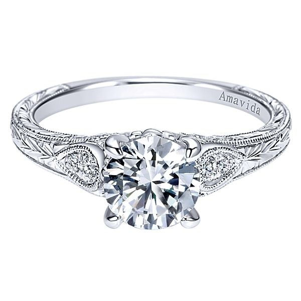 Vintage Platinum Round Straight Diamond Engagement Ring