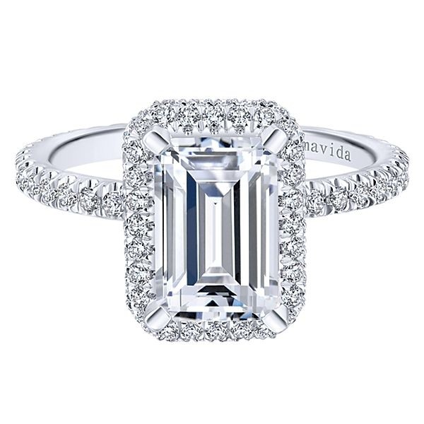 18k White Gold Emerald Cut Double Halo Diamond Engagement Ring