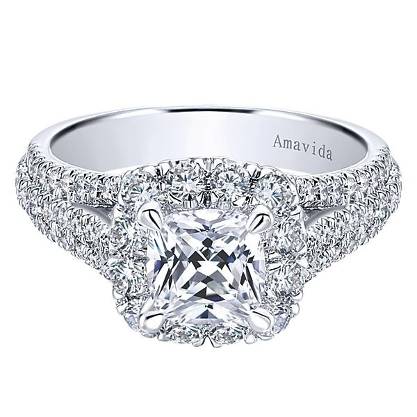 18k White Gold Amavida Cushion Cut Halo Diamond Engagement Ring