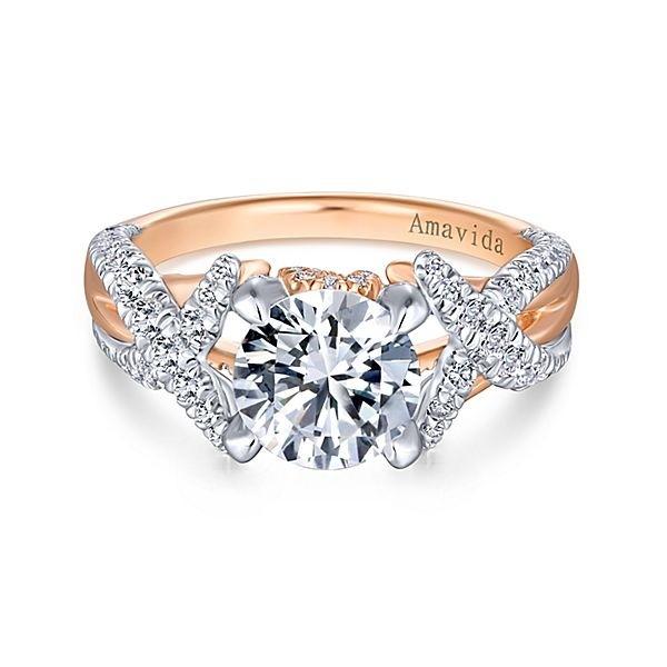 18k White Rose Gold Round Twisted Diamond Engagement Ring