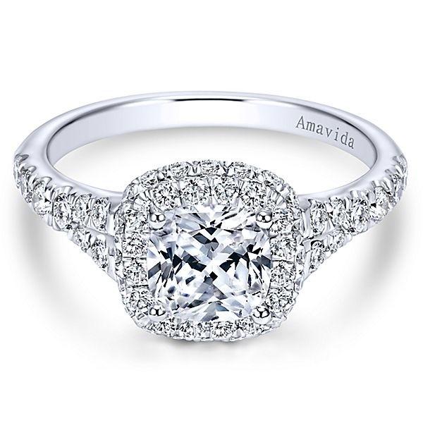 18k White Gold Amavida Cushion Cut Double Halo Diamond Engagement Ring