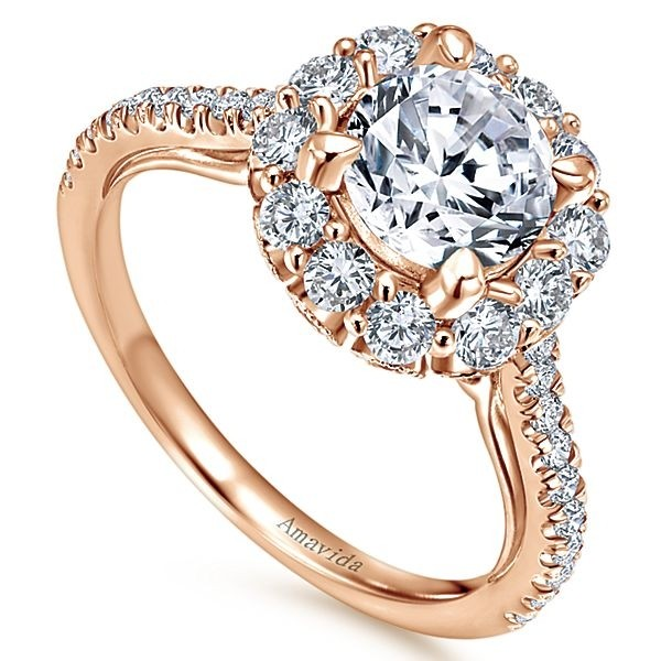 rings gold round engagement gabriel amavida ring rose halo yesenia diamond