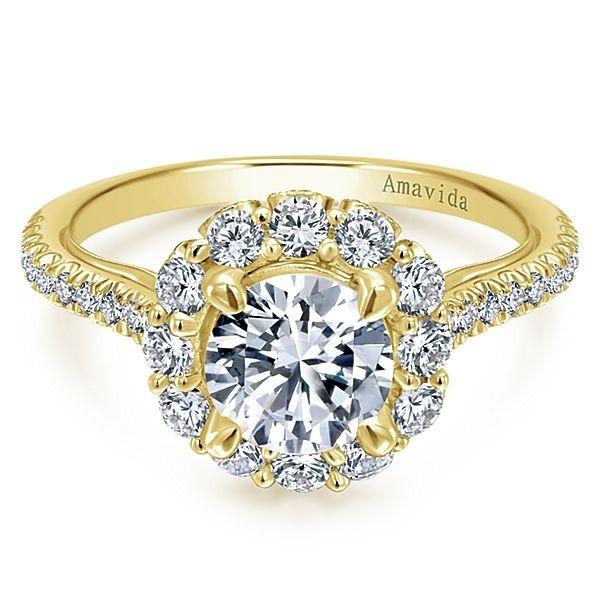 18k Yellow Gold Amavida Round Halo Diamond Engagement Ring