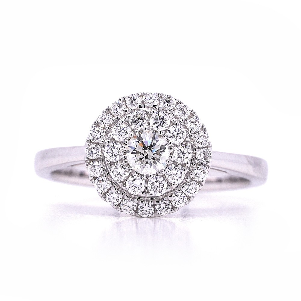 Bridal Rings Company Round Halo Diamond Engagement Ring in 14K White Gold