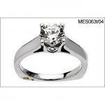 18 KARAT WHITE GOLD SOLITAIRE WEDDING RING with 2 Diamond(s) 0.04ctw