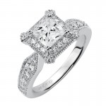 """Hillary"" Diamond Halo Engagement Ring"